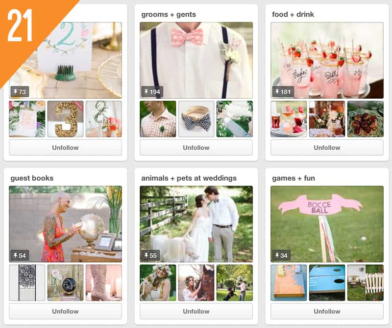 21 Glamour & Grace Wedding Pinterest Accounts to Follow