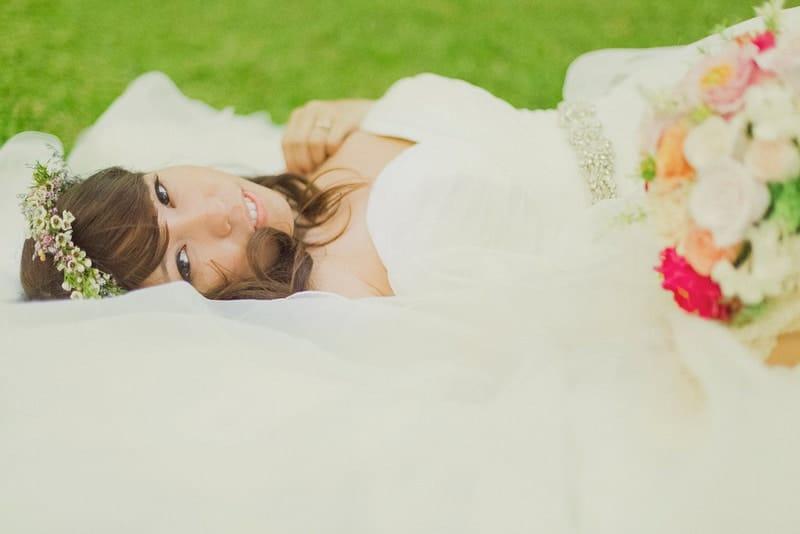 Beautiful Bride portrait in dress floral crown romantic destination Hawaii