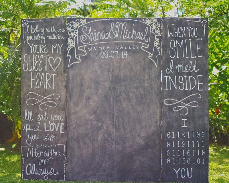 Chalkboard photo booth backdrop altar DIY hawaii wedding