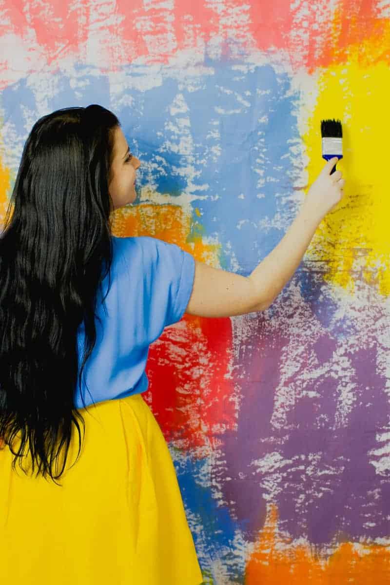 DIY Watercolour Backdrop Bold Painted Altar Paintbrush-4