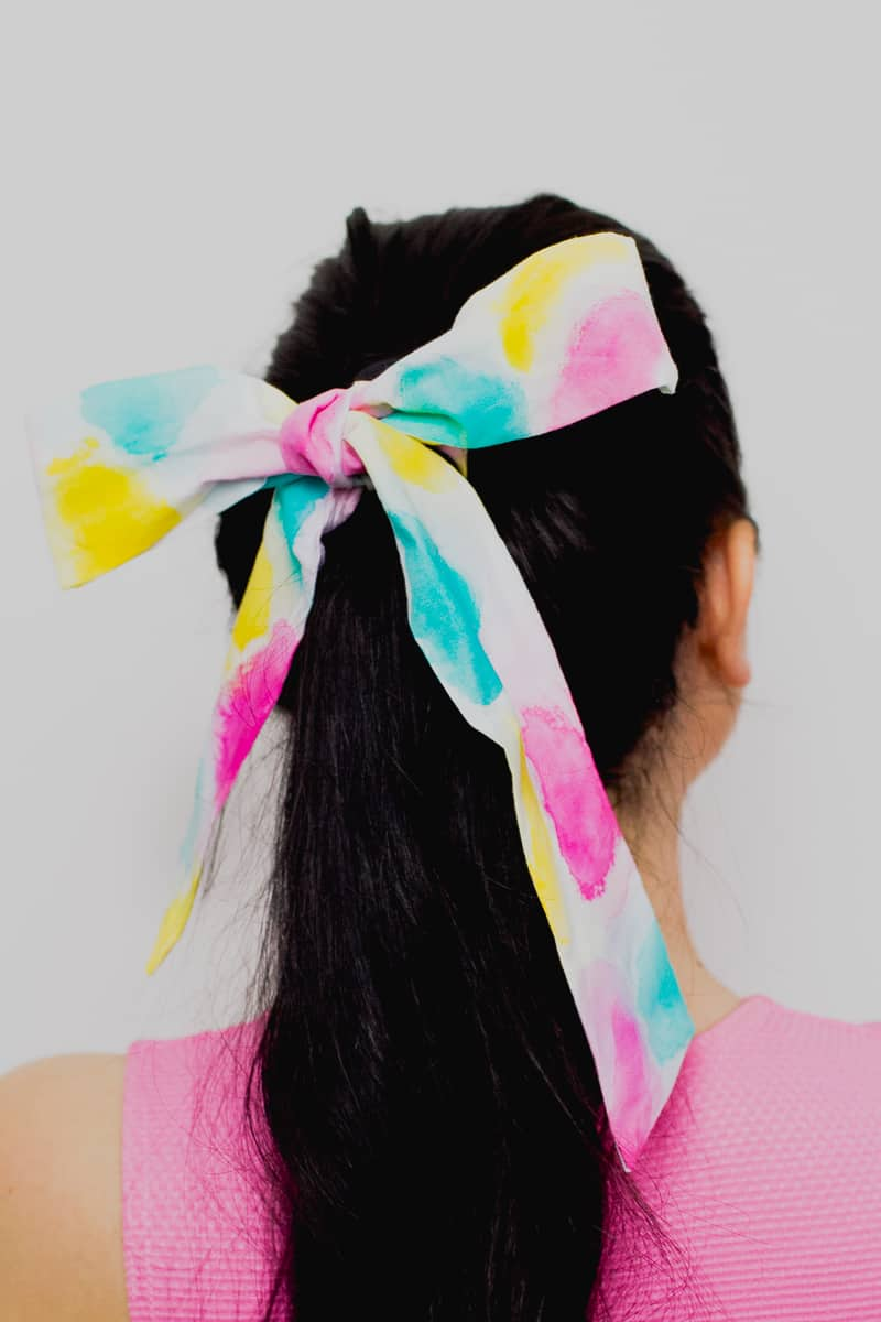 DIY Watercolour Paint Headband Hairband Hair Scarf Tie-5