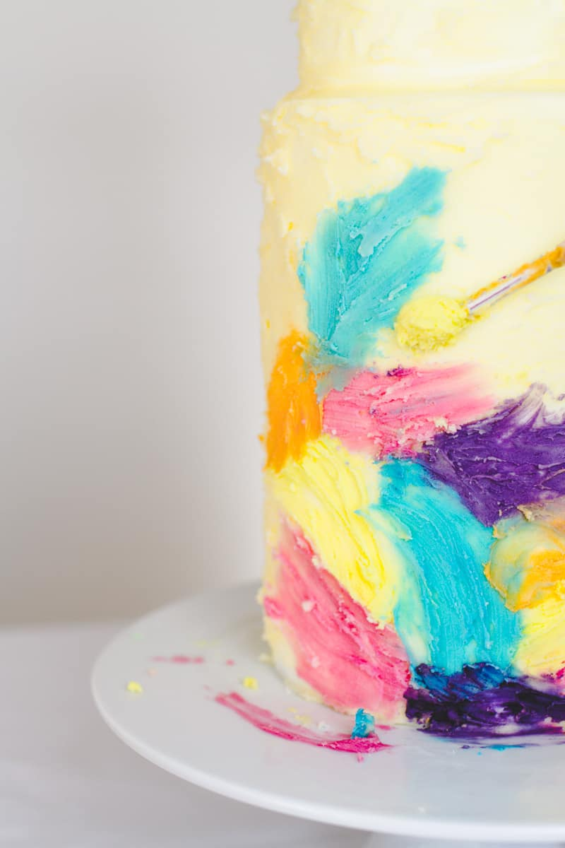 DIY Watercolour Wedding Cake Painted Colourful Buttercream Icing Brush-3