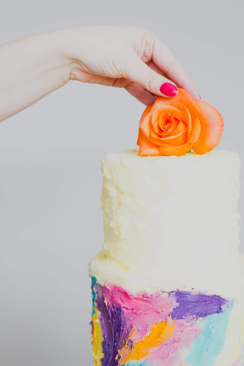 DIY Watercolour Wedding Cake Painted Colourful Buttercream Icing Brush-5