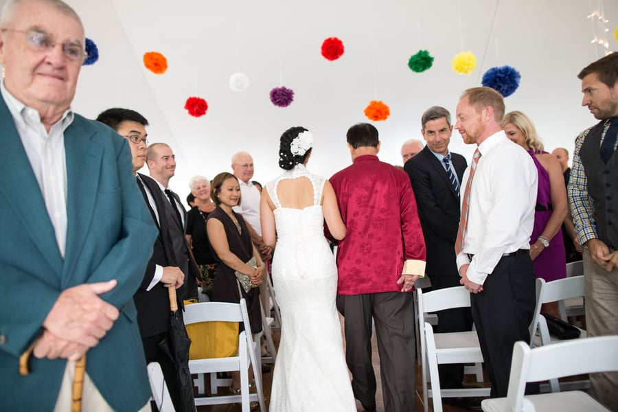 DIY Wedding with Coloruful Pompoms and rainbow backdrop 1