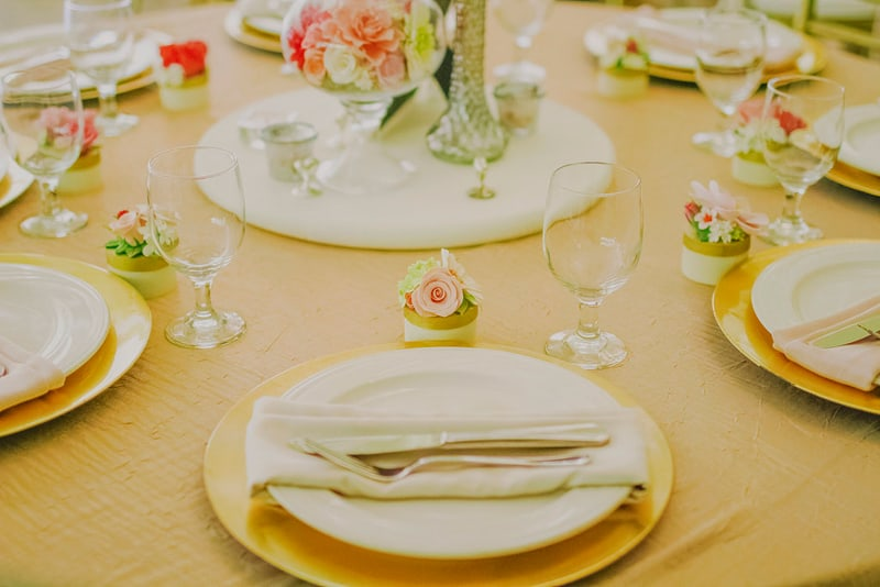 Gold and pink wedding table decor whimsical romantic 2
