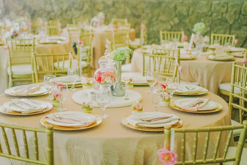 Gold and pink wedding table decor whimsical romantic