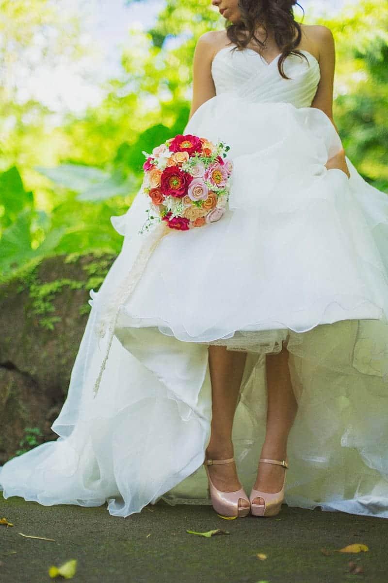 Hawaii Bride Portrait Pink Wedding Shoes
