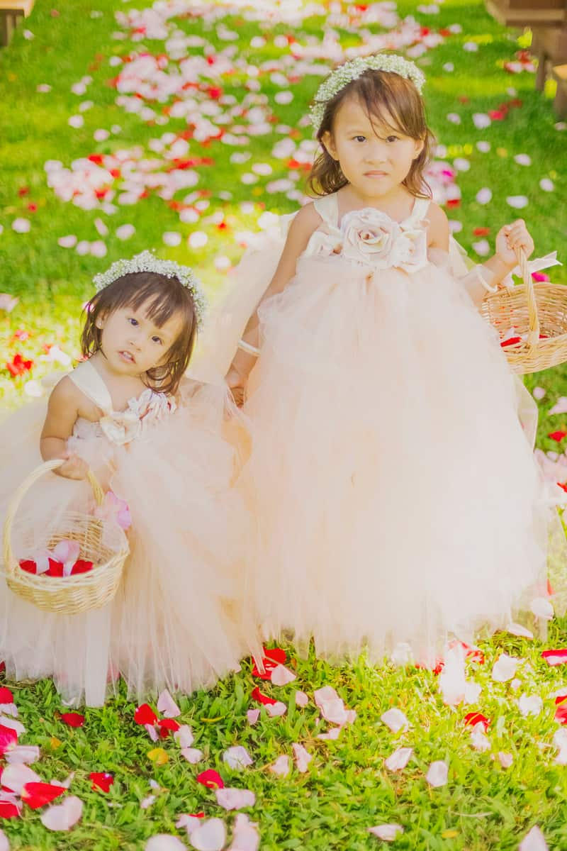Hawaii Flower girls in chiffon tulle dresses with floral crowns