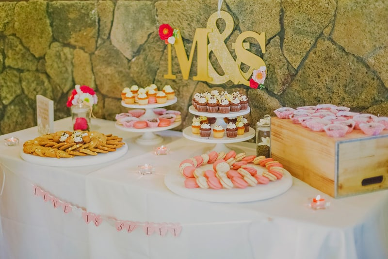 Macaron biscuit cupcake dessert table romantic pink and gold