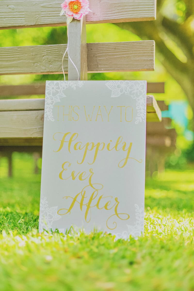 This way to happily ever after sign DIY wedding decor whimsical