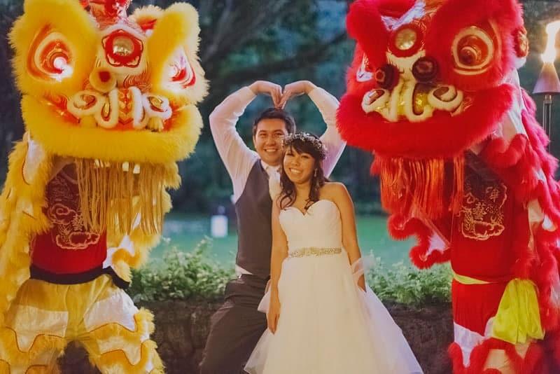 Traditional chinese dragons at Hawaii wedding