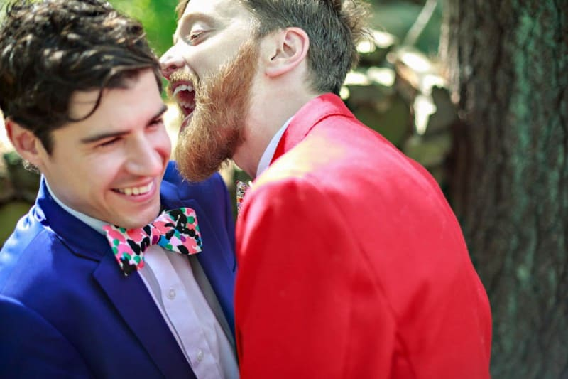 A SAME SEX COLOURFUL HANDMADE WEDDING AT A FOREST RETREAT IN Massachusetts (16)