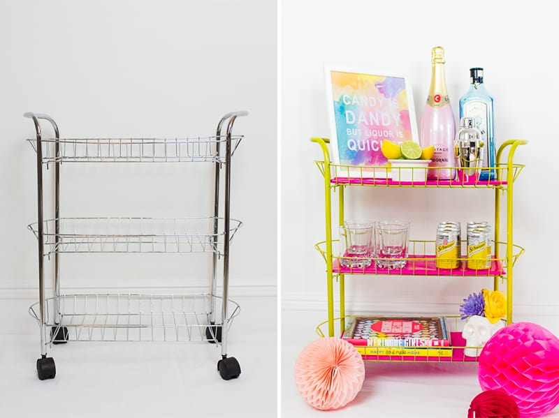 Before After DIY Pink and yellow Bar cart colourful fun with fresh flowers and skulls