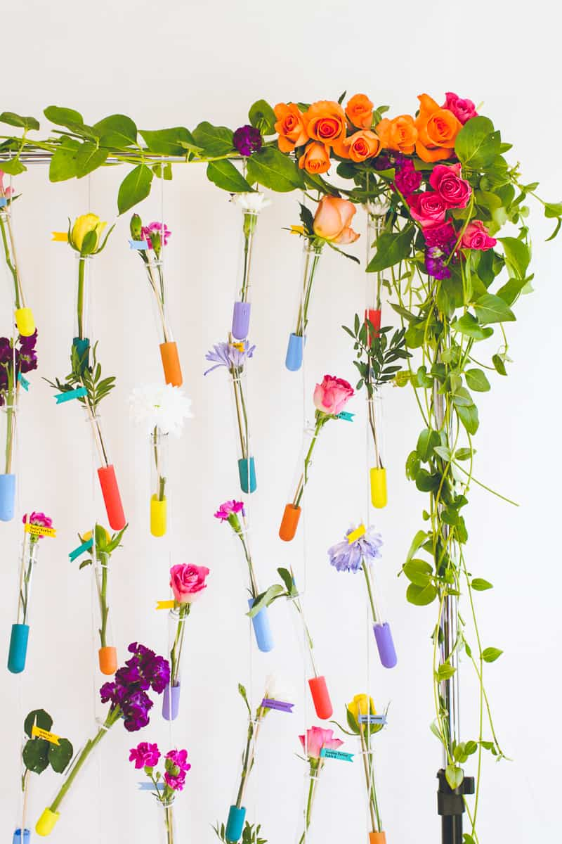 DIY Hanging Flower Test Tube Seating Plan Colourful Table Plan with Fresh Flowers-15