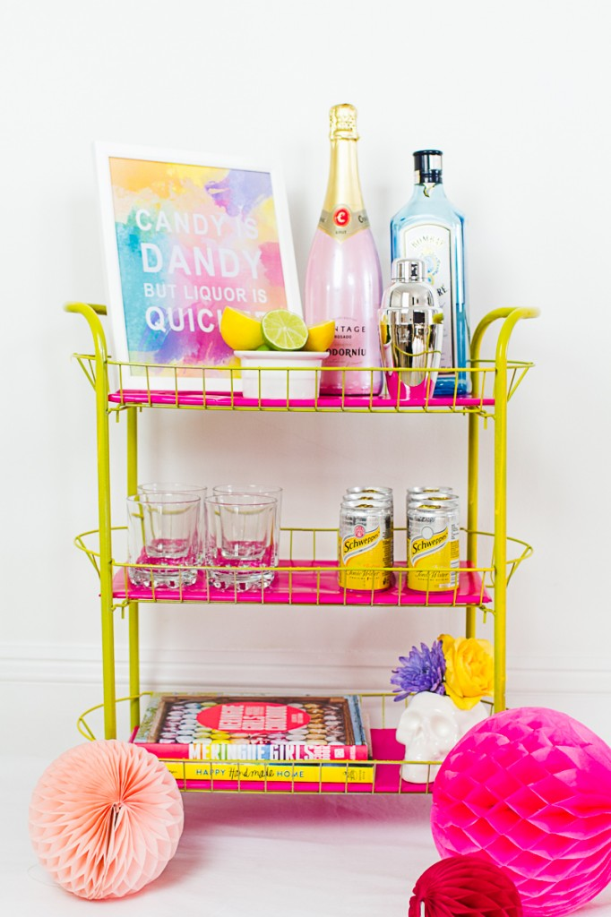 DIY Pink and yellow Bar cart colourful fun with fresh flowers and skulls-3