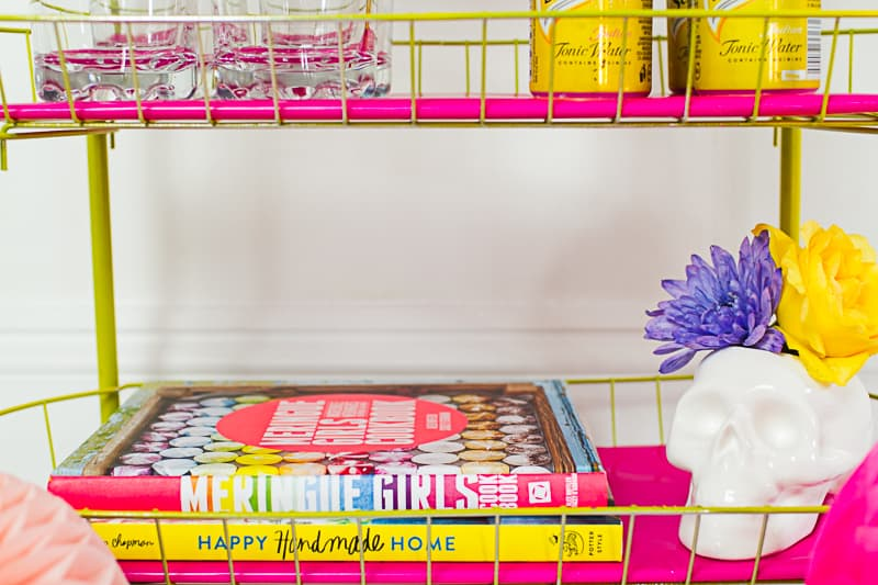 DIY Pink and yellow Bar cart colourful fun with fresh flowers and skulls-5