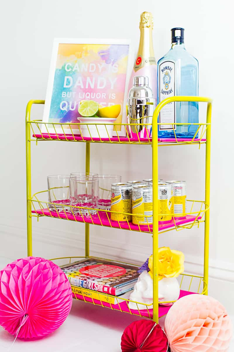 DIY Pink and yellow Bar cart colourful fun with fresh flowers and skulls-9