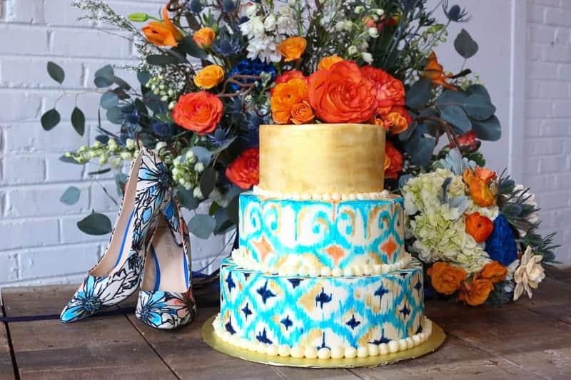 Whimsical Warehouse Wedding Inspiration with Bath tub bride orange navy colour scheme-12
