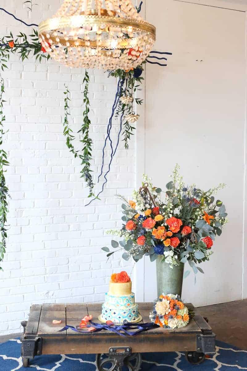 Whimsical Warehouse Wedding Inspiration with Bath tub bride orange navy colour scheme-14