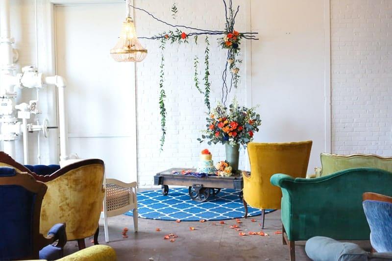 Whimsical Warehouse Wedding Inspiration with Bath tub bride orange navy colour scheme-15