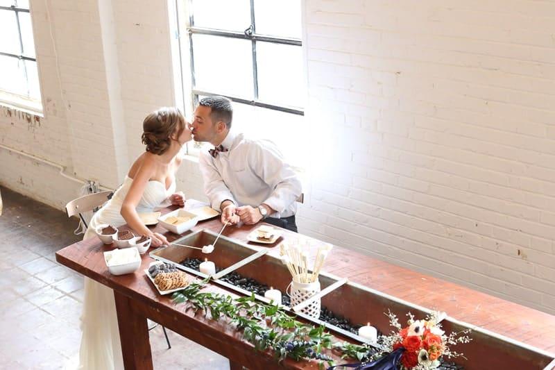 Whimsical Warehouse Wedding Inspiration with Bath tub bride orange navy colour scheme-24