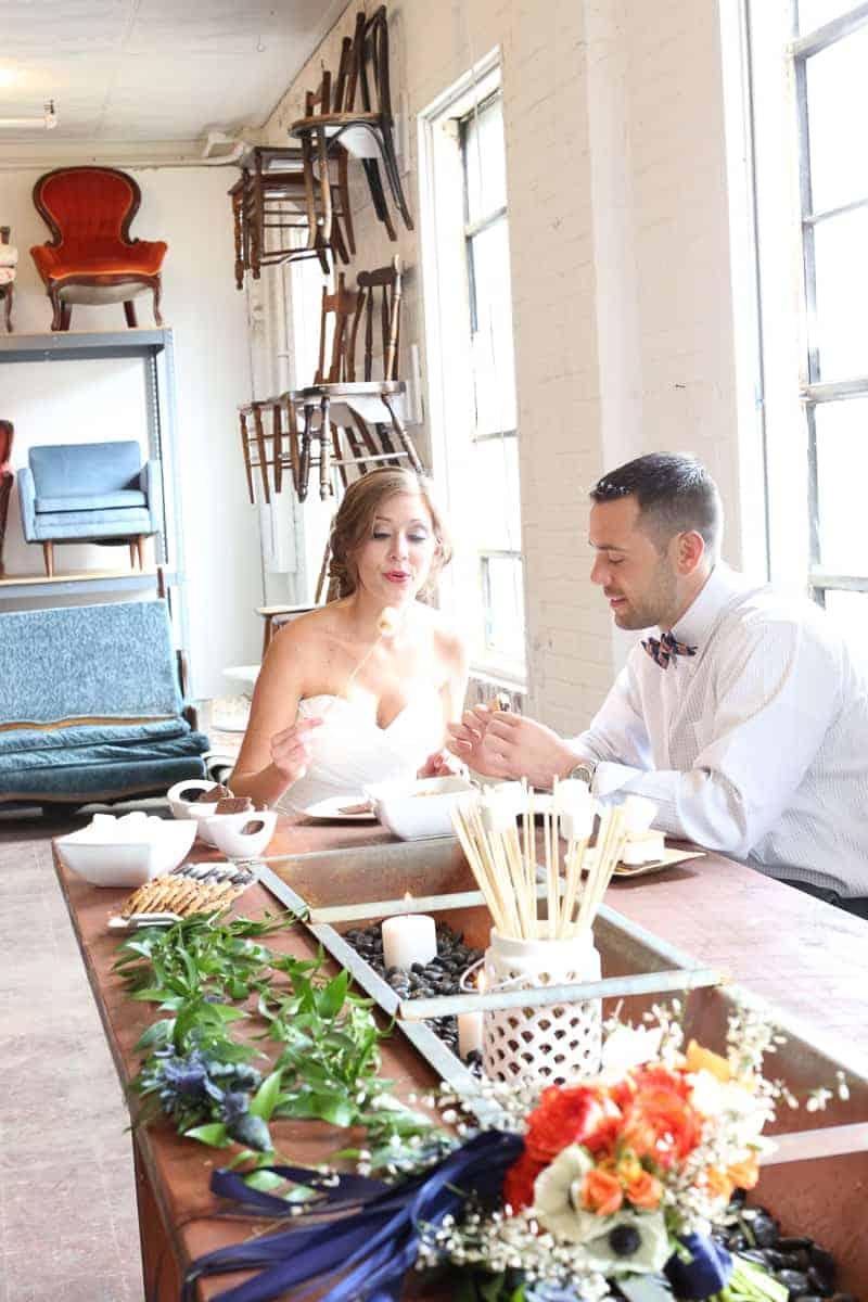 Whimsical Warehouse Wedding Inspiration with Bath tub bride orange navy colour scheme-25