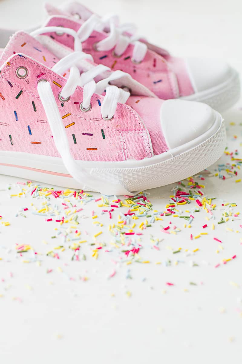 DIY Sprinkle Shoes Sneakers Pink Bridal pumps plimsole funfetti tutorial iron on-5