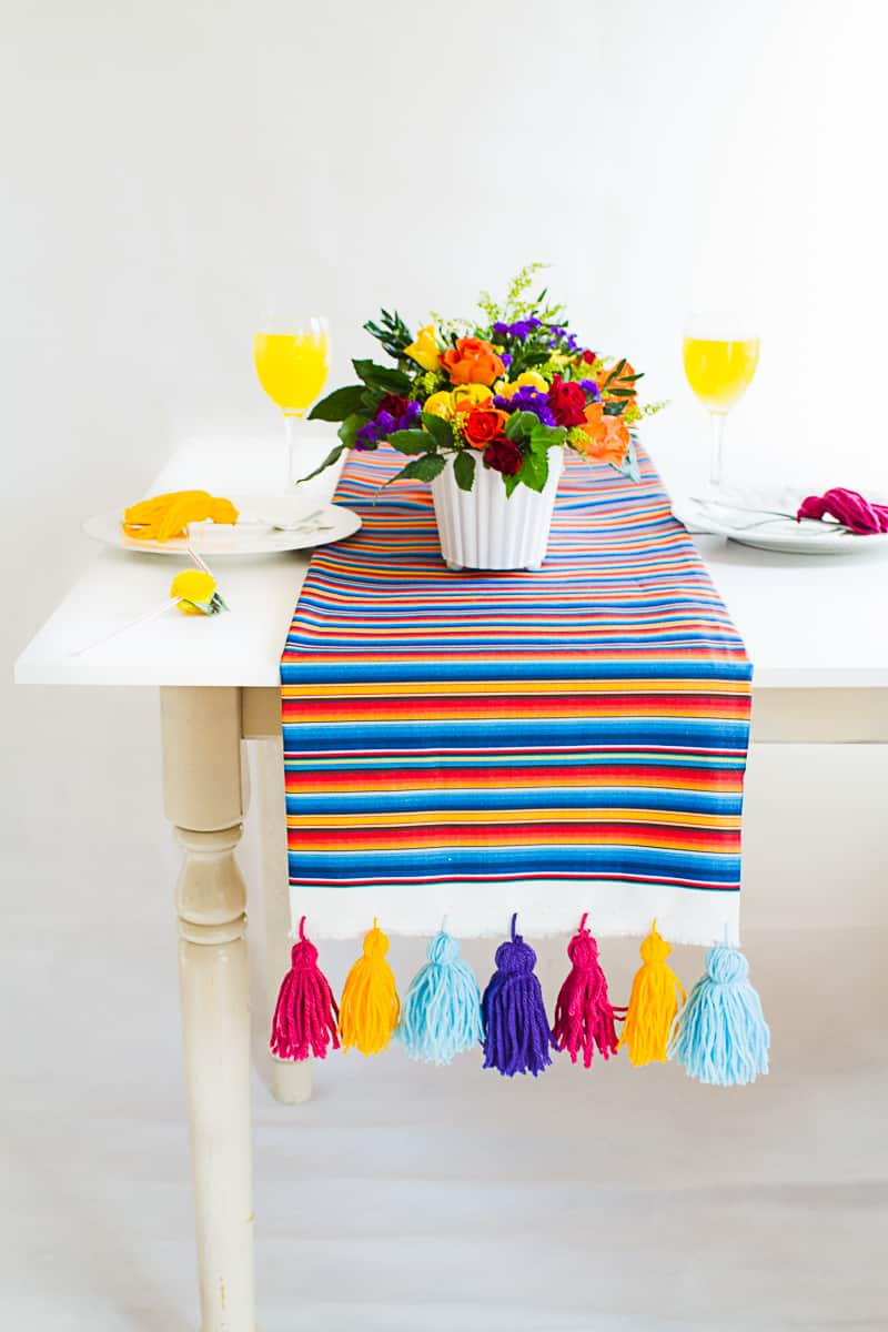 DIY Tassel Tassle table cloth with Zazzle Mexican inspired wedding inspiration styling-11