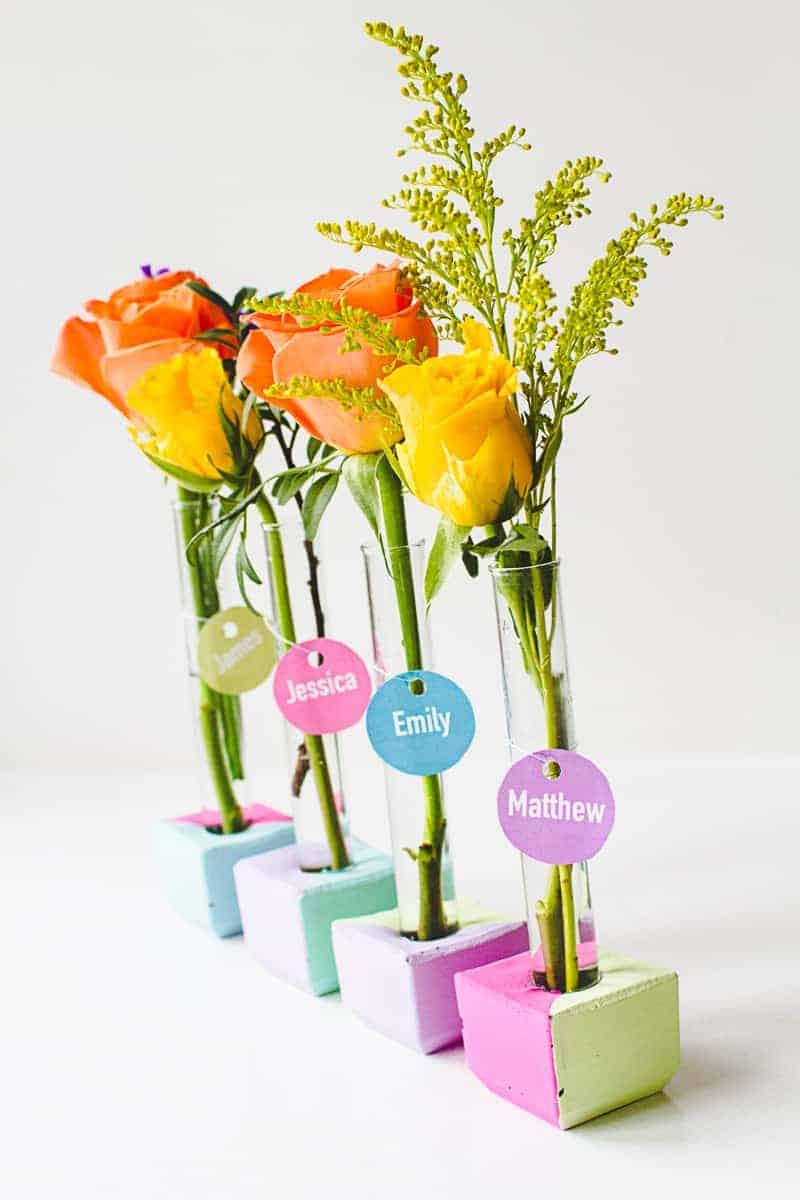 Try these concrete test tube place names for your wedding - Plantas artificiales para decoracion ...