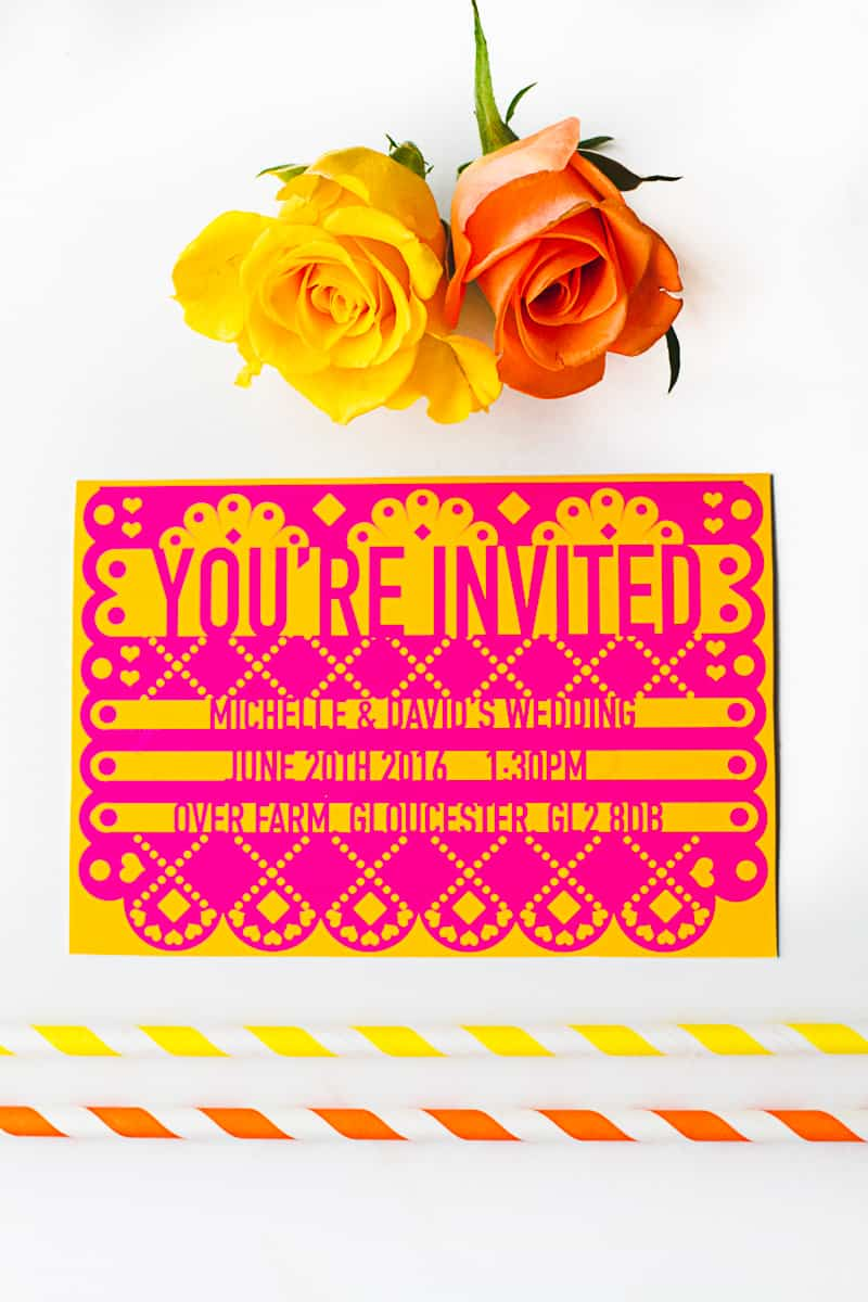 Free Printable Papel Picado Mexican Wedding Invitations Editable-2