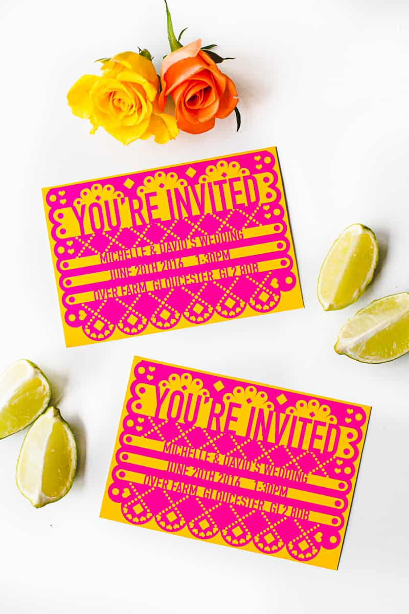 FREE PRINTABLE U0026 EDITABLE PAPEL PICADO WEDDING INVITATION  Free Template Invitation