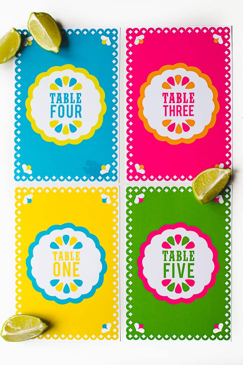 Free Printable Mexican Themed Table Numbers Bespoke