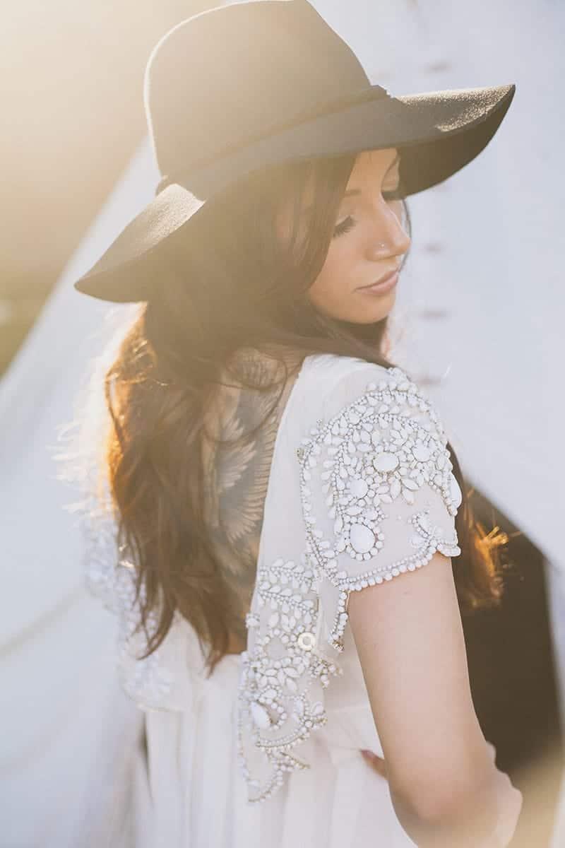 Bohemian Boho Wedding Inspiration Floppy Hat Bride Festival 14