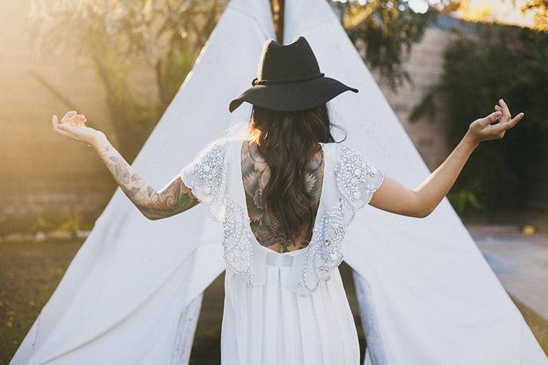 Bohemian Boho Wedding Inspiration Floppy Hat Bride Festival 15
