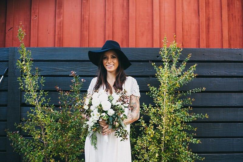Bohemian Boho Wedding Inspiration Floppy Hat Bride Festival 19