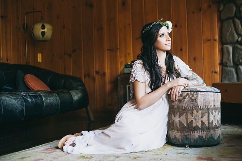 Bohemian Boho Wedding Inspiration Floppy Hat Bride Festival 2
