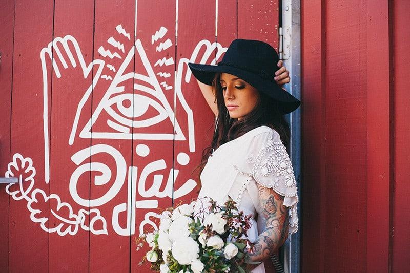 Bohemian Boho Wedding Inspiration Floppy Hat Bride Festival 20