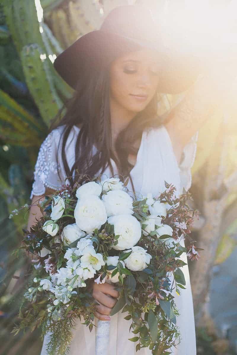 Bohemian Boho Wedding Inspiration Floppy Hat Bride Festival 22