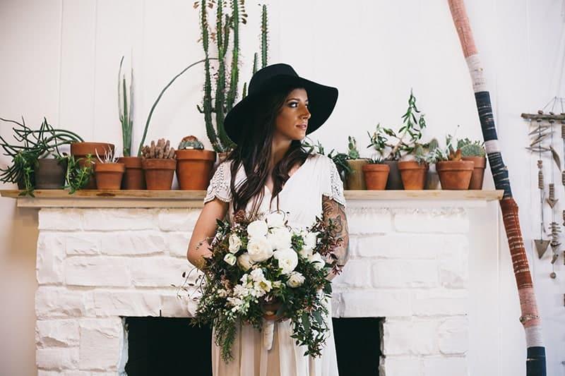 Bohemian Boho Wedding Inspiration Floppy Hat Bride Festival 24