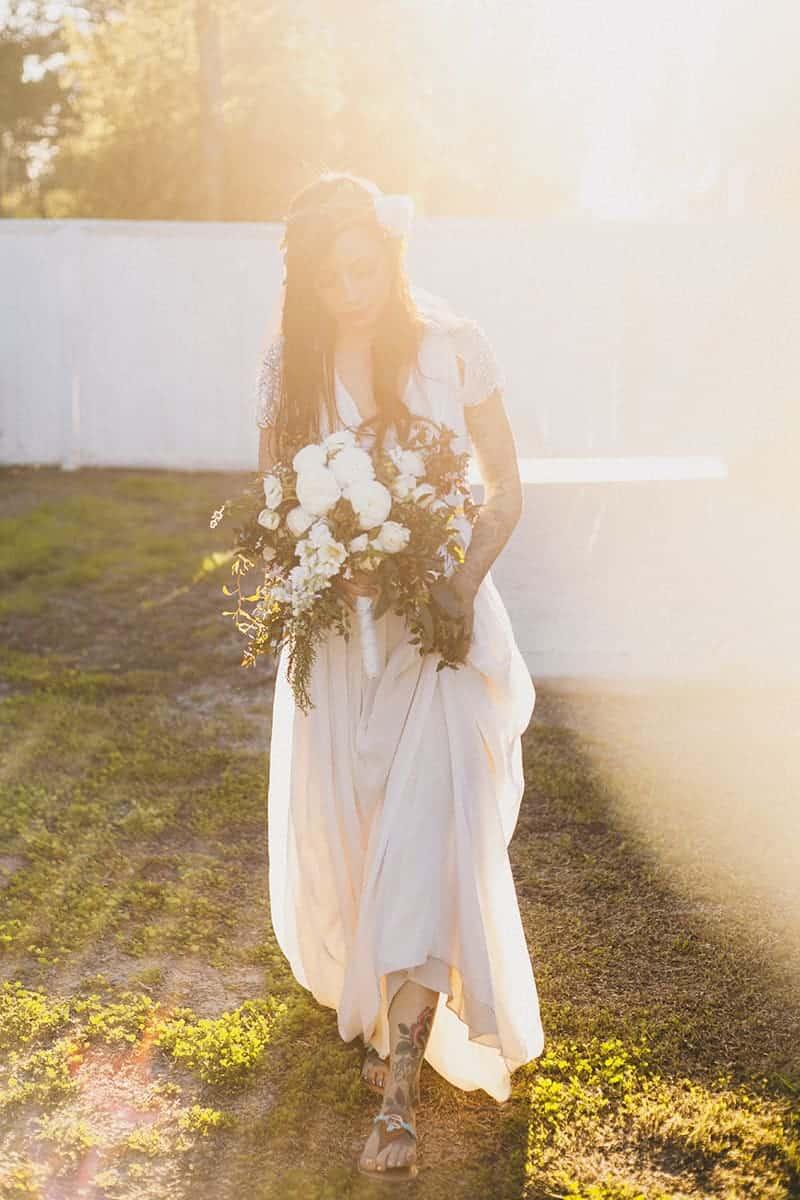 Bohemian Boho Wedding Inspiration Floppy Hat Bride Festival 31