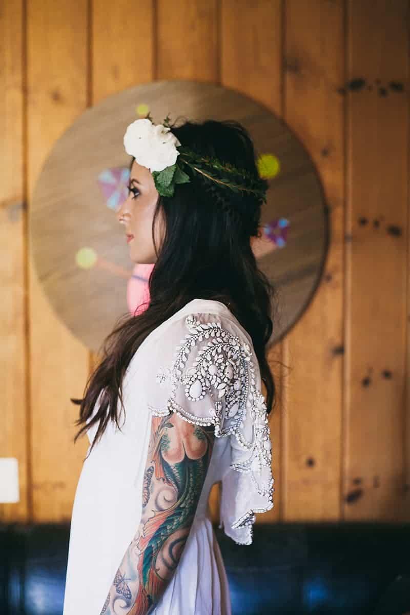 Bohemian Boho Wedding Inspiration Floppy Hat Bride Festival 4
