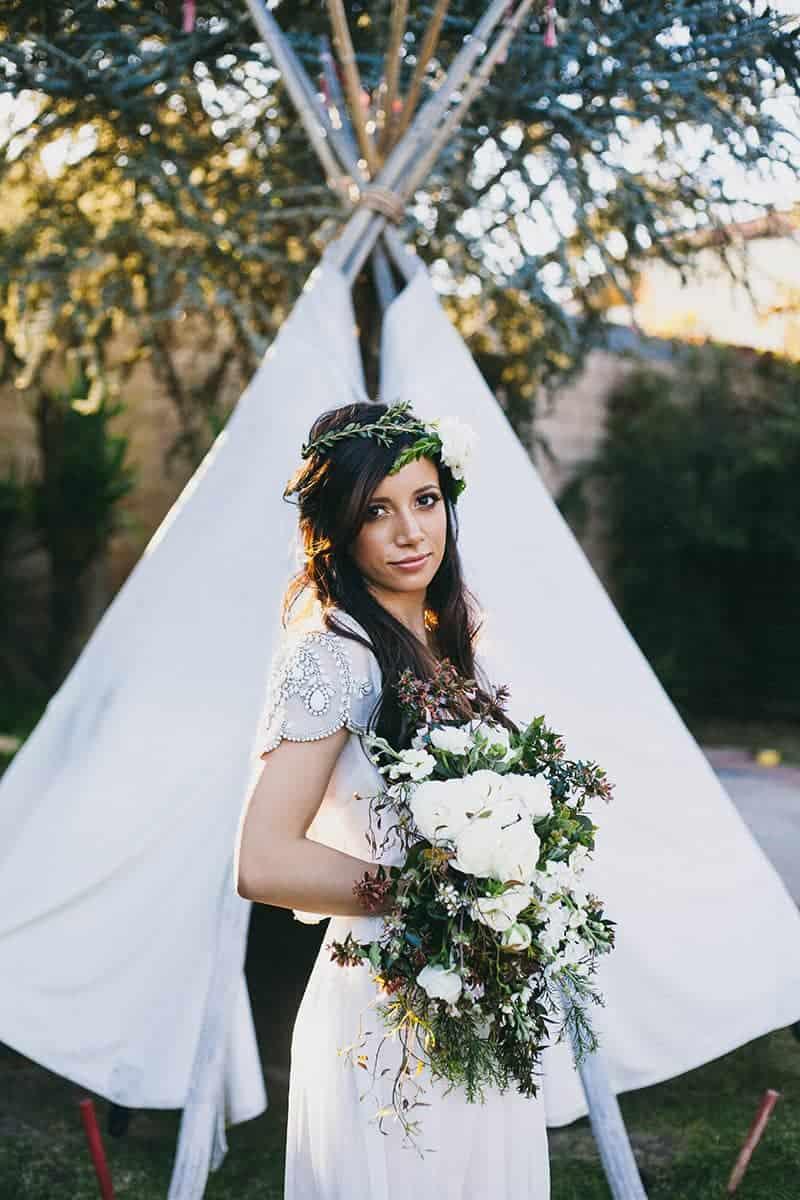 Bohemian Boho Wedding Inspiration Floppy Hat Bride Festival 6