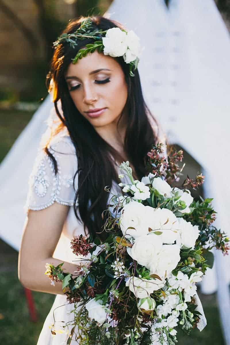 Bohemian Boho Wedding Inspiration Floppy Hat Bride Festival 7