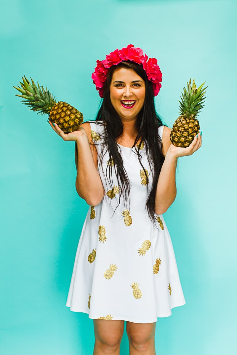 DIY Pineapple Themed Dress Gold Iron Tropical Bridesmaids Dress Tutorial with Cricut