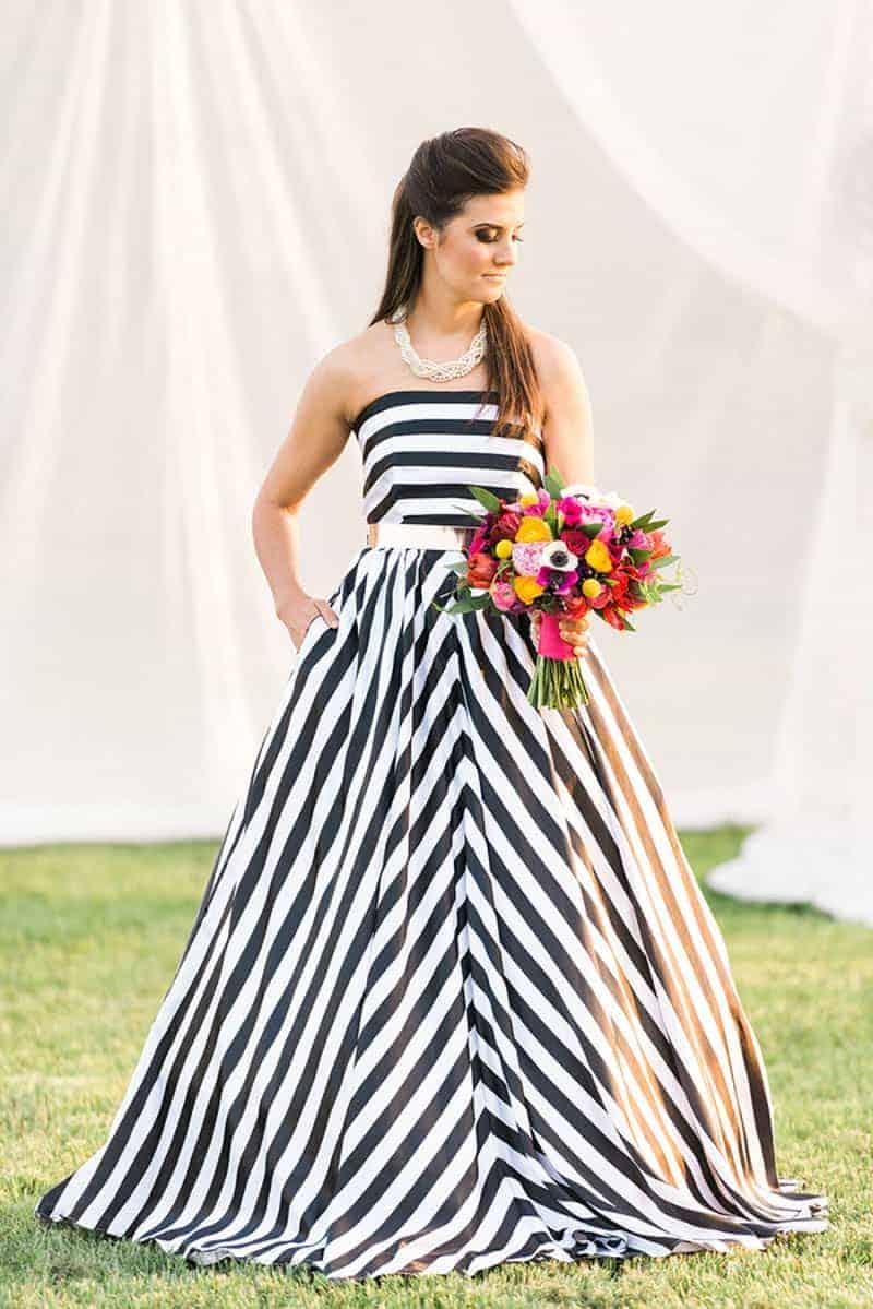 Modern wedding style kate spade how to diy wedding flowers for Striped bridesmaid dresses wedding