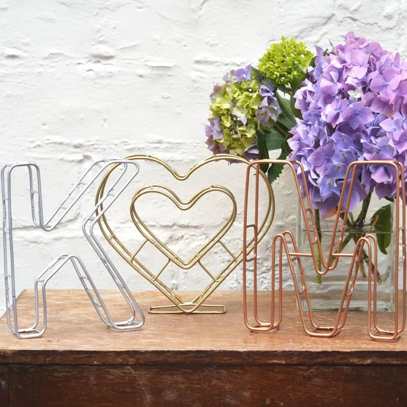 wire initials and heart the letter loft