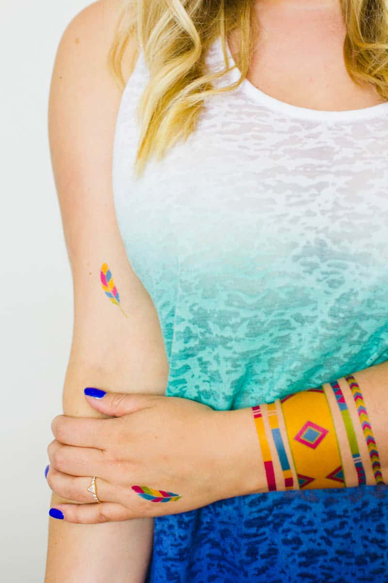 Colourful Festival inspired temporary tattoo, Free Printable (1)