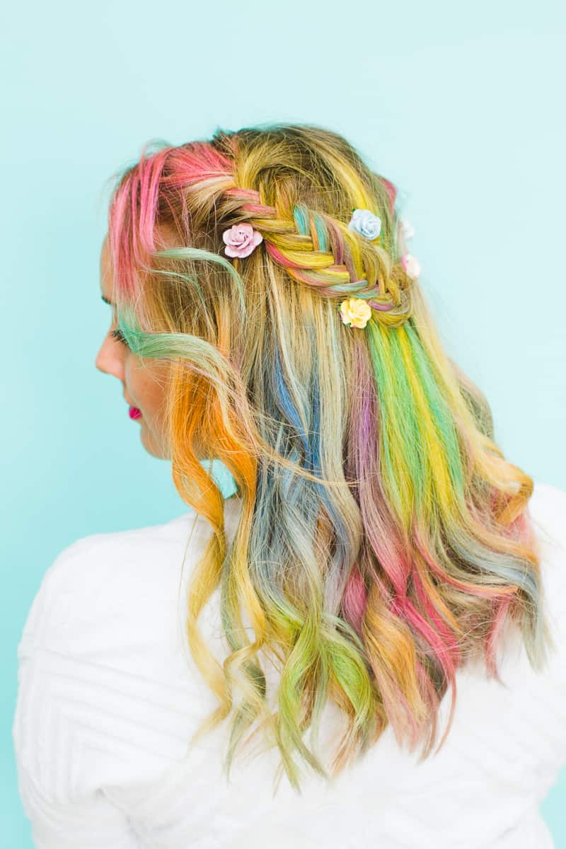 rainbow hair braid tutorial bespokebride wedding blog