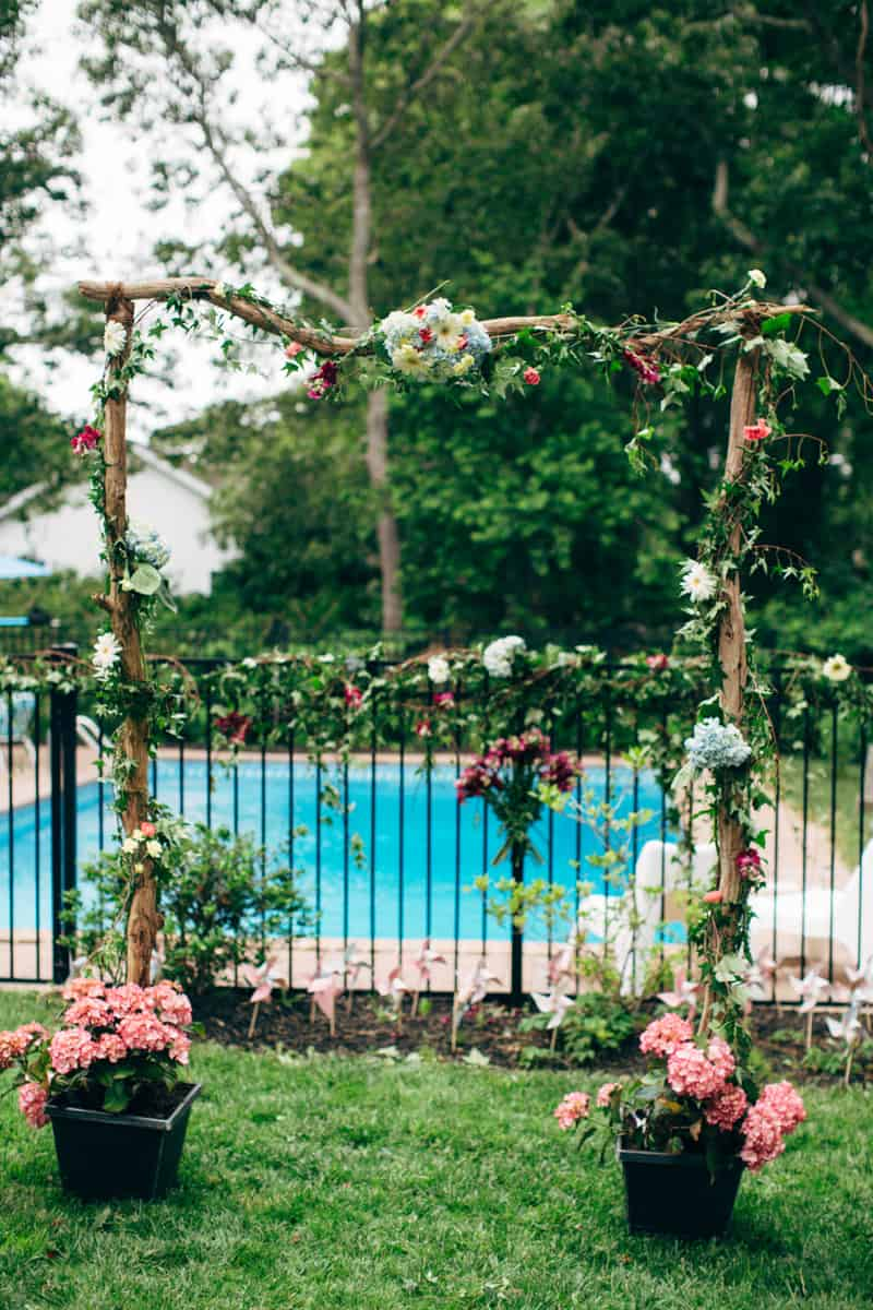 Backyard Flamino themed DIY Wedding in South Hampton USA  (6)