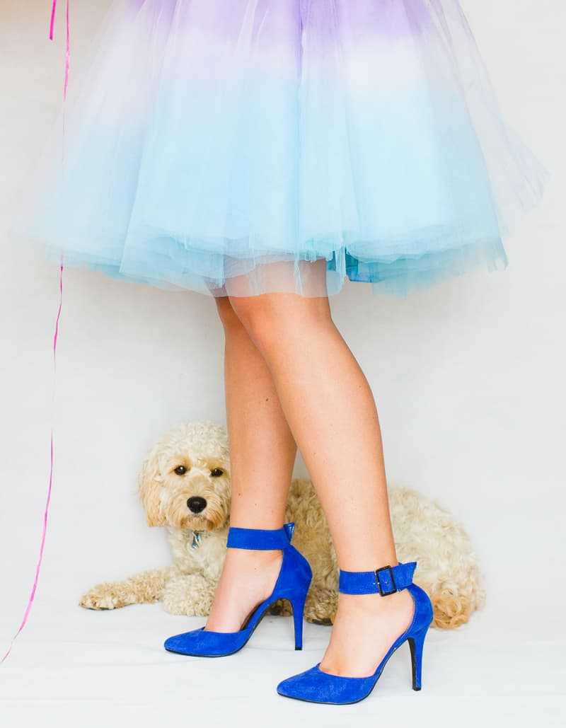 DIY ombre tulle skirts two tone blue purple orange pink-2